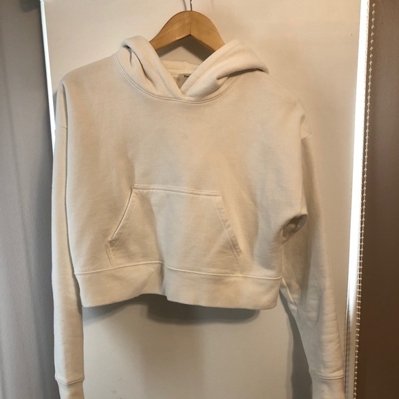 Cropped white TNA hoodie